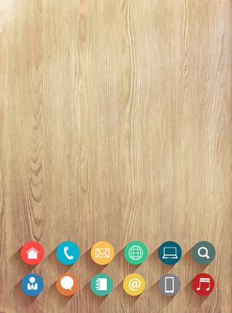 Vector wood plank background with modern business flat icons Vector
