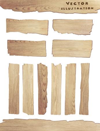 drewno: Stare drewniane deski na białym tle, ilustracji wektorowych