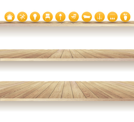 wooden shelves: Wooden shelves isolated on white background, With furniture flat icons, Vector illustration modern template design