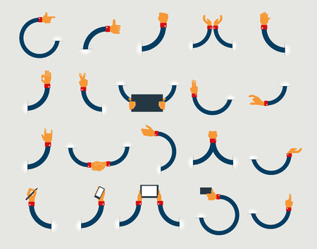 phone vector: Vector set of flat hand icons design Illustration