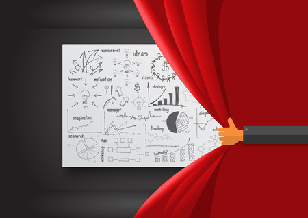 stage set: Hand opening red curtain, With creative drawing business success strategy plan ideas, Inspiration concept modern design template layout, diagram, Vector illustration