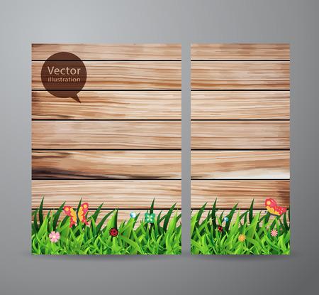 ウッド フェンスの背景に緑の芝生とベクトル パンフレット ビジネス バナーのデザイン テンプレート
