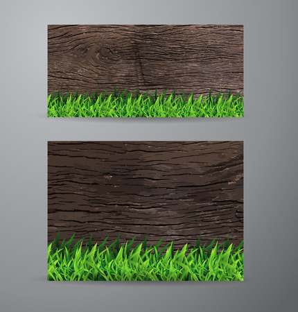 spring roll: Vector brochure business banner design template With green grass over wood fence background Illustration