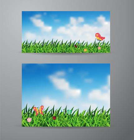 spring roll: Vector brochure business banner design template With field of green grass and sky background Illustration