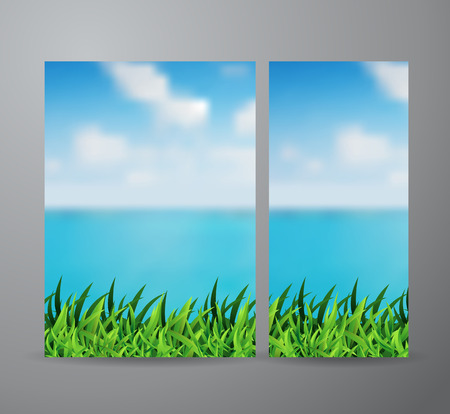 sea grass: Vector brochure business banner design template With field of green grass and beautiful sea view background Illustration