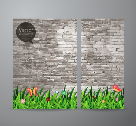 gray texture background: Vector brochure business banner design template With green grass over brick wall background Illustration