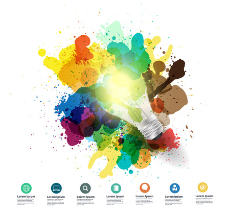 Creativity concept Creative light bulb idea with watercolor splatter Vector illustration modern design template