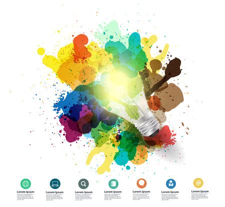 Creativiteit concept Creatieve gloeilamp idee met aquarel splatter Vector illustratie modern design template