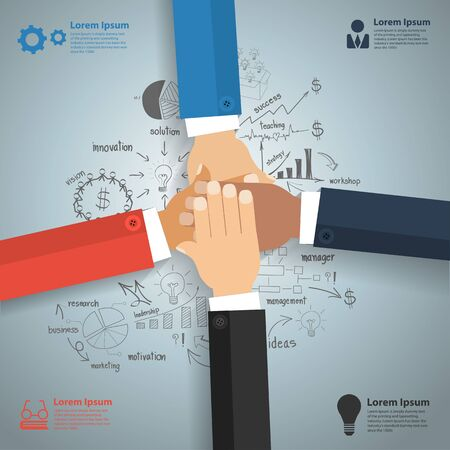 hands together: Business team showing unity with their hands together With creative drawing charts and graphs business success strategy plan idea Inspiration concept modern design template Vector illustration