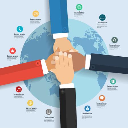 affari: Squadra di affari che mostra l'unità con le loro mani insieme con Infografica schema internazionale di business globale e le icone piane disposizione intensificare opzioni illustrazione vettoriale modello di progettazione moderno
