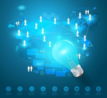 network concept: Creative light bulb idea with technology business network process diagram concept Vector illustration modern template design