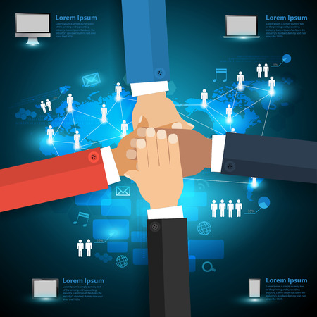 hands together: Networking technology concept With business team showing unity with their hands together Infographic layout diagram step up options Vector illustration modern design template Illustration