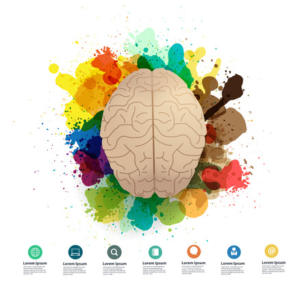 left right: Creativity brain with watercolor splatter Vector illustration modern design template