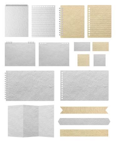 Papel texturas de fondo, aislado en fondo blanco Guardar caminos para el trabajo de diseño (hojas de papel, papel rayado, papel de nota, calendario, tarjeta de visita, papel de cuaderno, bandera de papel)