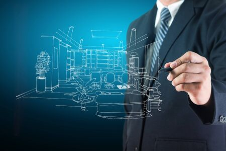 architect drawing: Architect drawing on print construction project design Stock Photo