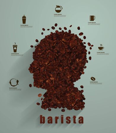 coffee beans: Coffee head concept as a symbol for a barista or a cafe icon person as a group of roasted beans shaped as a human head Vector illustration modern layout template design Illustration