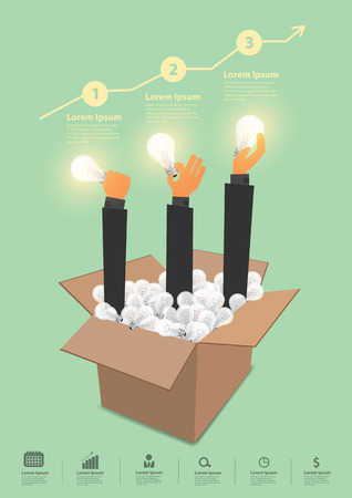 think: Think outside the box creative ideas concept, With business hand holding light bulb, Inspiration modern design template workflow layout, diagram, numbers step up options banner, Vector illustration