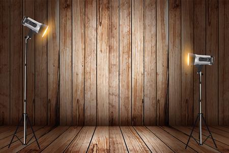 reflector: Vector photo studio in old wooden room