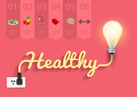 Healthy ideas concept, Creative light bulb design abstract infographic layout, diagram, step up options, Vector illustration modern template