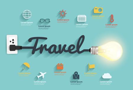 valigia: Viaggia idee concetto, design creativo lampadina astratto schema infografica, icone di stile piatto set, schema, intensificare le opzioni banner, illustrazione vettoriale template grafico moderno