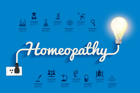 Homeopathy ideas concept, Creative light bulb design abstract infographic layout, icons set, diagram, step up options, Vector illustration modern template