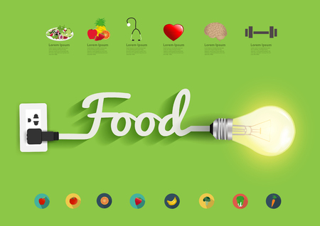 lightbulbs: Food ideas concept, Creative light bulb design abstract infographic layout, diagram, step up options, Vector illustration modern template