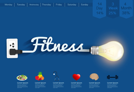 step fitness: Fitness ideas concept, Creative light bulb design abstract infographic layout, diagram, step up options, Vector illustration modern template