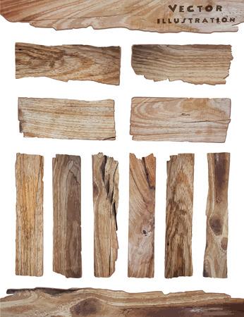 madera: Tablón de madera vieja aislado sobre fondo blanco, ilustración vectorial