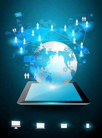 Technologie business ideeën concept, creatieve netwerk tabletcomputer met wereldkaart informatie processchema, Vector illustratie moderne sjabloon ontwerp