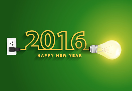 light bulb idea: 2016 happy new year concept, Creative light bulb idea abstract infographic layout, diagram, step up options, Vector illustration modern design template Illustration