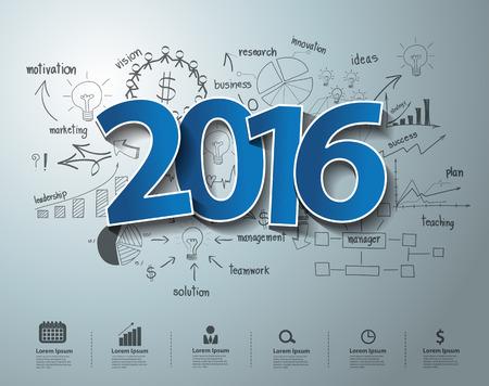 enseñanza: Etiquetas azules etiqueta 2016 diseño de texto en el dibujo de pensamiento creativo de ideas del plan de estrategia de éxito del negocio concepto, concepto de inspiración moderna plantilla de diseño, diagrama, intensificar opciones, ilustración vectorial