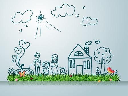 alegria: Familia feliz con la casa, dibujo creativo en verde las ideas conceptuales campo de hierba, ilustración vectorial moderna plantilla de diseño Vectores