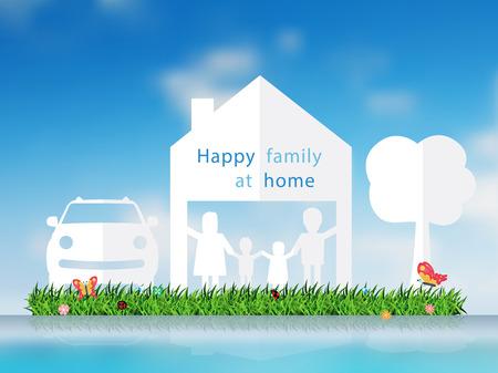 Papier gesneden van gelukkige familie met huis en grasveld, auto, boom, Vector illustratie sjabloon ontwerp
