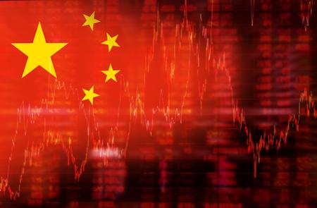 Drapeau de la Chine. La tendance baissière schéma de données sur les stocks