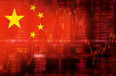 stock market crash: Flag of China. Downtrend stock data diagram
