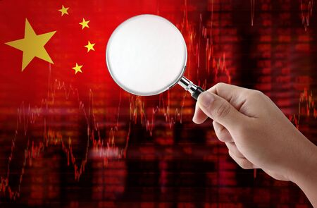 negative equity: Flag of China. Downtrend stock data diagram with hand holding magnifying glass analyze solution ideas concept design