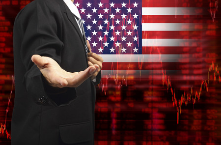 Flag of USA, Downtrend stock diagram with business man with empty hand