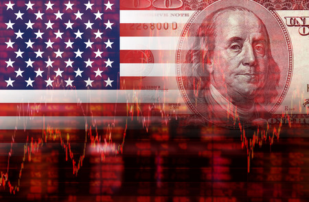 usa: Crisis in USA - Shares Fall Graph on United States of America Flag with Face of Benjamin Franklin from one hundred dollars bill Stock Photo