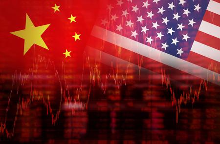 Vlag van de VS met de vlag van China Neerwaartse trend voorraad diagram