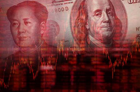 Downtrend voorraad diagram, Gezicht van Mao Zedong op RMB Yuan 100 bill, met Gezicht van Benjamin Franklin van honderd dollar bill