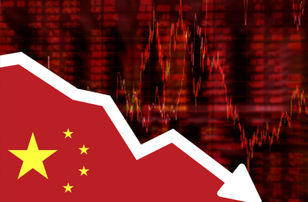 Stock exchange loss red screen with flag of China. Downtrend stock data diagram ideas concept design