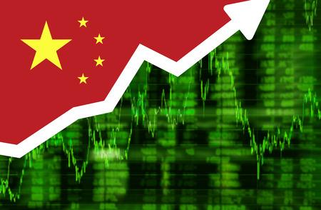 Beurs deelt up groen scherm met vlag van China. Arrow grafiek omhoog stock diagram ideeën conceptontwerp Stockfoto