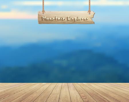 letrero: Montaña paisaje y tablones de madera piso de fondo vista de verano, diseño Ilustración vectorial