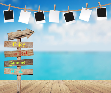 Summer design, Beautiful sea view and photo frames on rope, Wooden arrow sign post or road signpost, Wood planks floor background, Vector illustration Ilustração