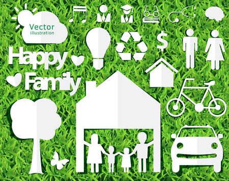 cut grass: happy family ideas concept with creative design paper cut on green grass texture background, Vector illustration decorative layout template