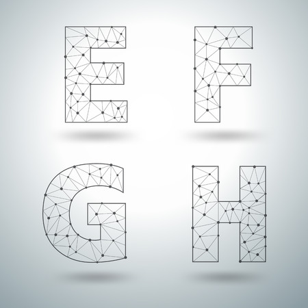 8 9: Mesh stylish alphabet letters numbers 6 7 8 9, Vector illustration templates design