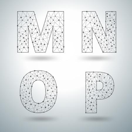 6 7: Mesh stylish alphabet letters numbers 6 7 8 9, Vector illustration templates design
