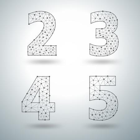 4 5: Mesh stylish alphabet letters numbers 2 3 4 5, Vector illustration templates design