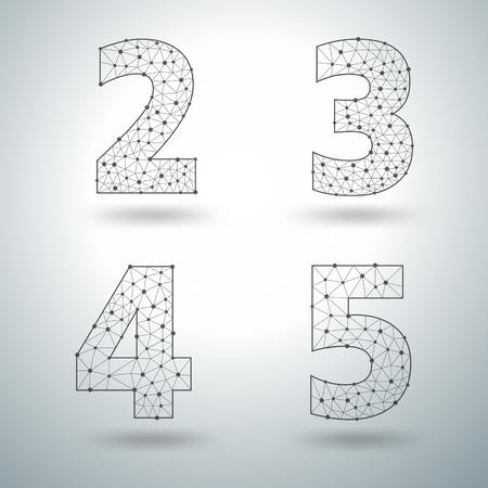 lettres alphabet: Mesh élégantes numéros de lettres de l'alphabet 6 7 8 9, Vector modèles de conception d'illustration