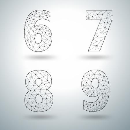 8 9: Mesh stylish alphabet letters numbers 6 7 8 9, Vector illustration templates design